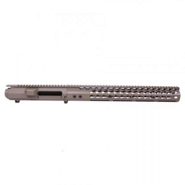 "AR-10 .308 "" STRIPPED BILLET UPPER RECEIVER & 15"" ULTRALIGHT SERIES KEYMOD HANDGUARD COMBO SET IN FDE"