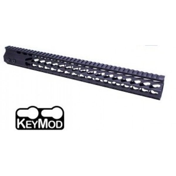"AR-15 16.5"" ULTRA SLIM OCTAGONAL 5 SIDED KEYMOD FREE FLOATING HANDGUARD WITH MONOLITHIC TOP RAIL"