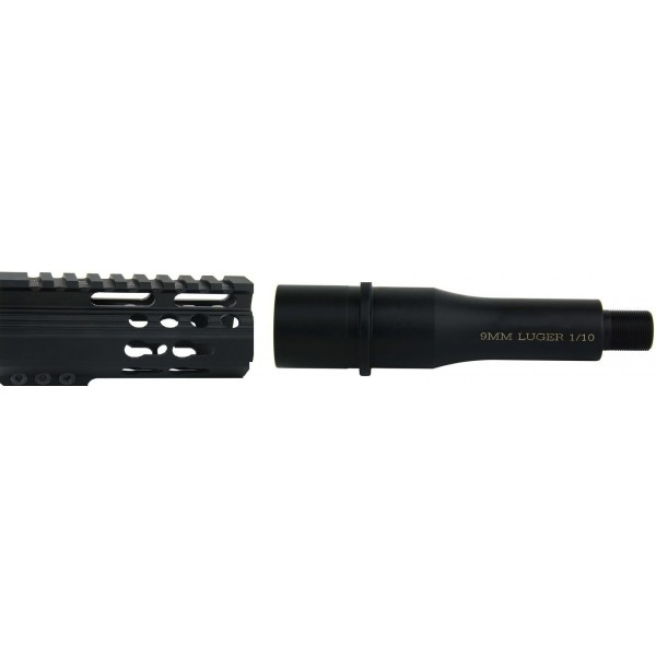 "AR-9 4.5"" 'SLICK SIDE' PISTOL UPPER  WITH FLASH CAN, HYBRID BCG AND CHARGING HANDLE"