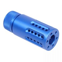 AR-15 MICRO SLIP OVER BARREL SHROUD WITH MULTI PORT MUZZLE BRAKE /ANODIZED BLUE /1/2X28