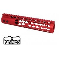"AR-15 10"" AIR LITE KEYMOD FREE FLOATING HANDGUARD WITH MONOLITHIC TOP RAIL - RED"