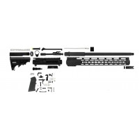 "AR-15 300 AAC blackout 16"" M4 rifle kit w/ 15"" slim rail"