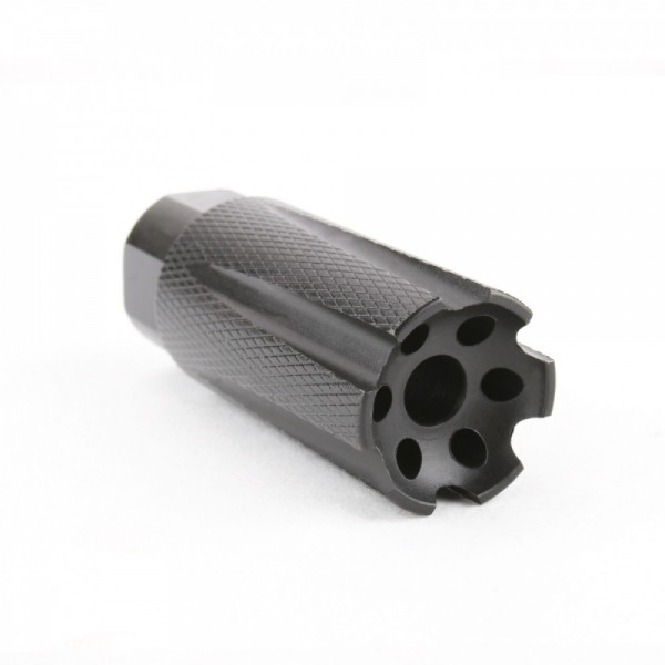 AR-15 Low Concussion Muzzle Brake 1/2x28 Pitch TPI Knurled - 6 ports