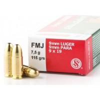 9mm Ammo by Sellier & Bellot 115gr FMJ
