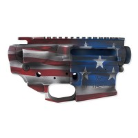 AR-15 INDEPENDENCE FLAG STRIPPED UPPER AND LOWER RECEIVER SET