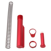 AR-15 M4 Six Position Buffer Tube Kit / Mil-Spec / Red