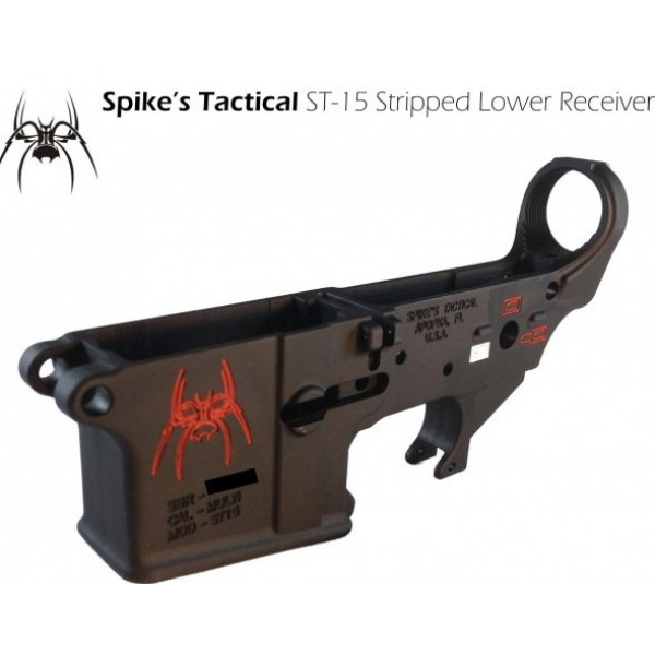 AR-15 Spikes Tactical Stripped Lower Receiver with Red Spider Logo
